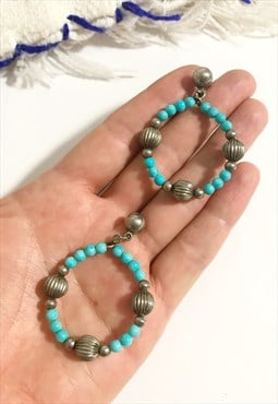 1970's Turquoise Boho Beaded Drop Hoop Earrings