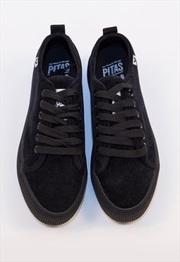 Chunky Black Corduroy Skate Shoes By Walk In Pitas
