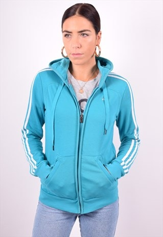 ADIDAS WOMENS VINTAGE HOODIE JACKET SMALL BLUE 90'S