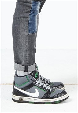 Vintage Grey Black Green NIKE Air Hi-Tops Trainers