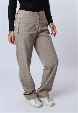 Trousers Print High Waisted Straight Checked UK 14  J8GZ