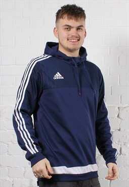 Vintage Adidas Hoodie in Navy w/ Spell Out Logo - Large