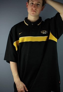 Vintage Nike Tigers Polo Shirt in Black with embroidery