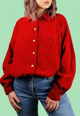Vintage 80's 90's Corduroy Red Shirt Blouse