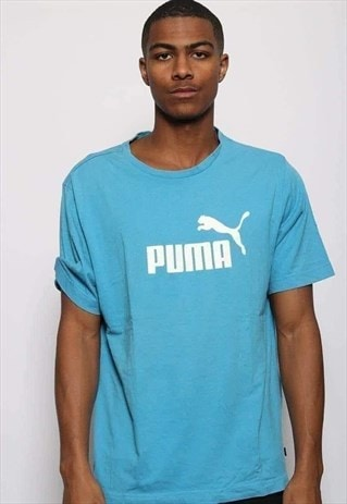 Vintage Puma Big Logo T-Shirt Blue