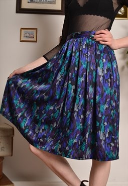 Vintage Abstract Pattern Elasticated Midi Skirt in Blue