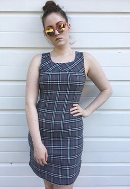 Womens Vintage Burberry dress grey nova check pinafore top