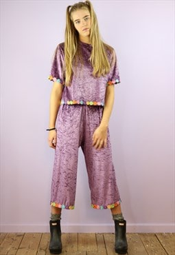 Purple Velvet Daisy Chain Co-Ord
