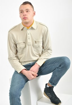 Vintage long sleeve polo shirt in beige