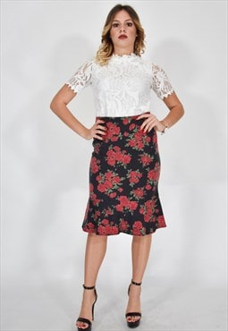 Moschino Jeans Long Elegant Skirt Black With Red Flowers