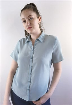 Womens Vintage 80s blouse light blue short sleeved shirt top