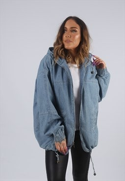 Vintage Denim Bomber Jacket Oversized Hooded UK 14 (W2C)