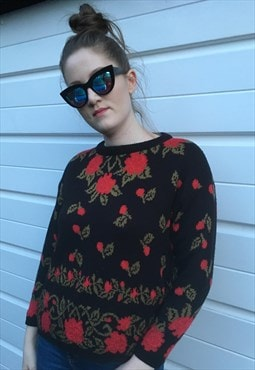 Womens Vintage 80s jumper red black floral sweater top