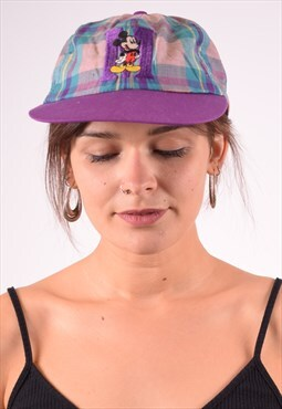 Mickey Womens Vintage Cap One Size Purple Check 90s