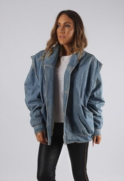 Vintage Denim Jacket Oversized Bomber UK 16 - 18 (JR3M)