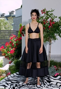 Black Neoprene Tulle Maxi Skirt