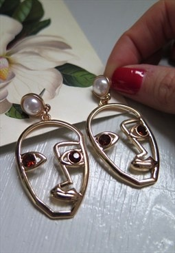 Gold Abstract Art Deco Jewelled Face Earrings