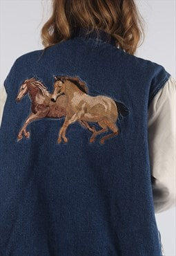 Vintage Denim Bomber Jacket Oversized HORSE UK 16 (R3B)