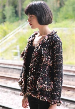 Black pink color tweed effect knitted cardigan Jacket