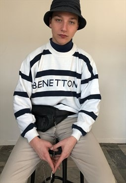 90s Vintage Benetton Striped Jumper with Spell Out Logo