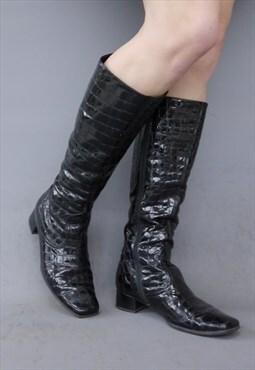 Vintage 90s patent leather croc print knee high boots