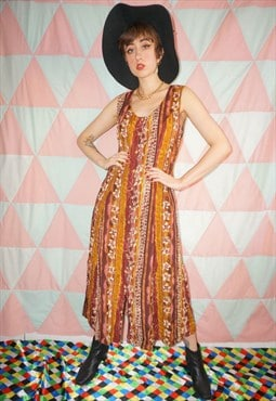 Vintage 90s Abstract Pattern Button Down Maxi Dress