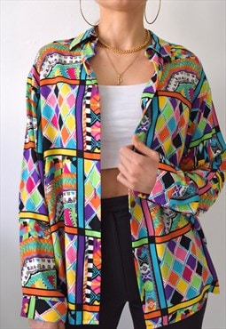 Vintage 80s multicoloured abstract cotton shirt