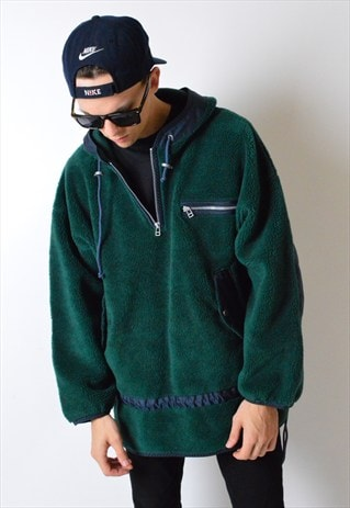 VINTAGE 90S 1/4 ZIPPER DROP SHOULDER FLEECE HOODIE JACKET