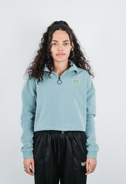 Lotus Cropped Half Zip Fleece - Blue
