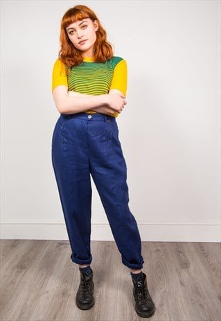 VINTAGE 90'S DARK BLUE HIGH WAIST SMART TAPERED TROUSERS