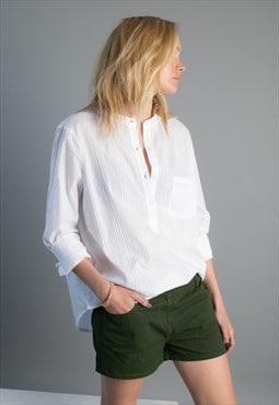TAMARINDO eco-friendly semisheer peasant shirt with stripe