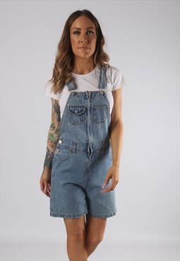 Vintage Denim Dungaree Shorts UK 10 Small  (JR2B)