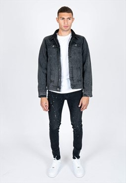 Norton Black Washed Denim Jacket With Borg Lined Collar