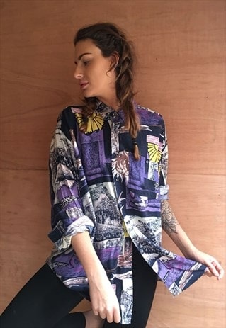 PATTERNED OVERSIZED RETRO VINTAGE UNISEX FESTIVAL SHIRT