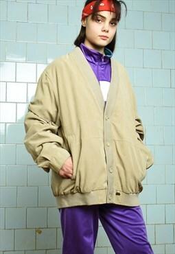 Vintage 90s retro oversized faux suede Dads bomber jacket