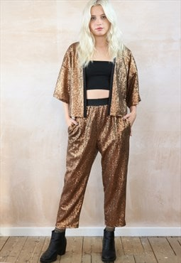 Cropped Trousers & Kimono Co-ordinates  butterscotch sequin