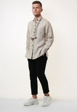 90s Vintage Oldschool Linen Cotton Shirt 17427