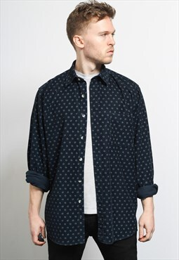 Vintage Corduroy Cord Shirt Blue