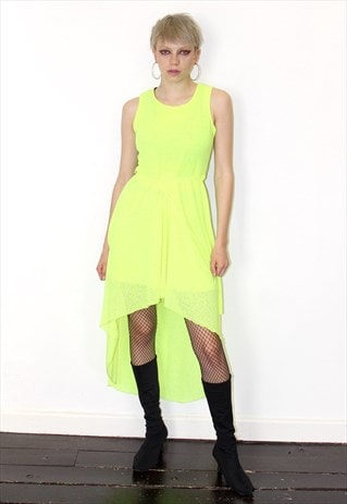 FLUO BRIGHT YELLOW DIPPED HEM MAXI PARTY DRESS PARTY