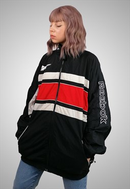 Vintage 90's Unisex Shell Track Jacket Windbreaker Black