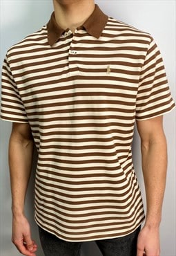 Vintage Polo Ralph Lauren striped polo shirt in brown