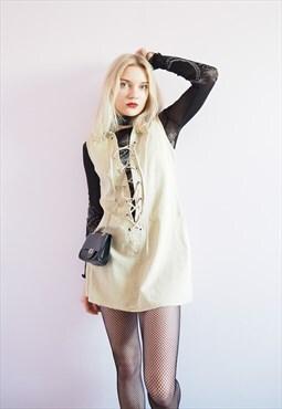 Vintage Y2K minimalist sleeveless beige lace up tunic dress