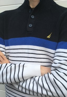 Mens Nautica jumper white blue stripy pullover knit top