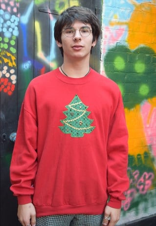 Red Vintage Christmas Jumper Sweater