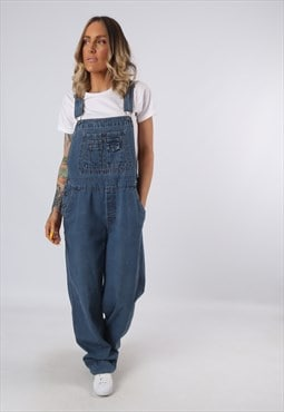 Denim Dungarees Vintage Wide Leg TALL LENGTH UK 14 (G34D)