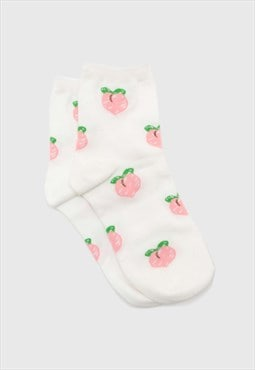 White peach long socks