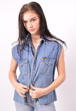 Vintage Lee Denim Shirt Sleeveless Blue