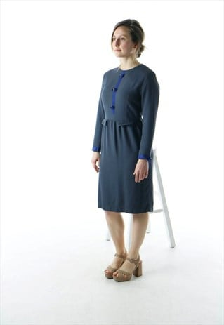 LONG SLEEVE SECRETARY DRESS / GRAY STRAIGHT DRESS /