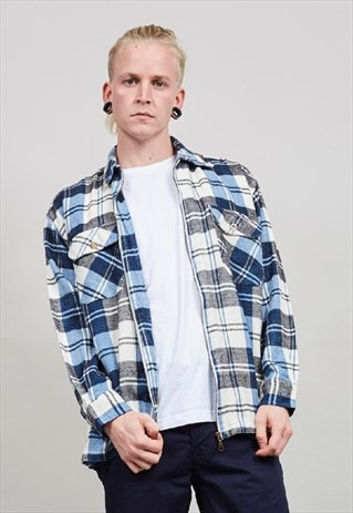 VINTAGE 90'S BLUE TARTAN WORKMAN SHIRT/ JACKET