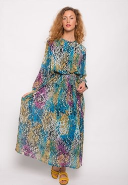 CY Blue floral leopard print chiffon long sleeves maxi dress